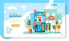 Online zakupy pojęcie Interneta handlu detalicznego zakupu smartphone strony internetowej sklepu app klienta linii technologii pł royalty ilustracja