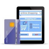 Online zakupy pojęcia handlu elektronicznego technologia z nowożytnym pastylka komputerem osobistym i kredytową kartą odizolowywaj Zdjęcia Royalty Free