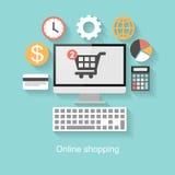 Online zakupy pojęcie, płaski projekt z długim cieniem ilustracji