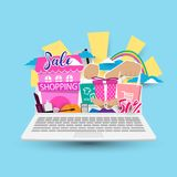 Online zakupy pojęcie na laptopie Zdjęcie Royalty Free