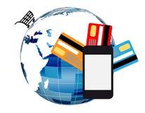 Online zakupy telefon komórkowy Zdjęcie Royalty Free