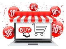 Online zakupy z laptopem ilustracji