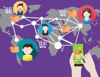 Online zakupy z mądrze telefonem w socjalny royalty ilustracja