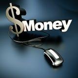 Online zilveren Dollargeld Royalty-vrije Stock Foto