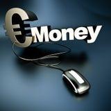 Online zilveren Euro geld Royalty-vrije Stock Foto's