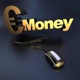 Online złocisty Euro pieniądze Fotografia Royalty Free