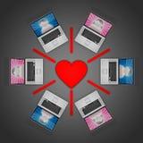 Onlinedatierungs-Netz Stockbild
