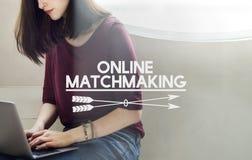 Onlinego datowanie dopasowywania Onlinego powiązania Online pojęcie Obraz Stock