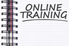 Onlinego szkolenia słowa na wiosny nutowej książce Fotografia Stock