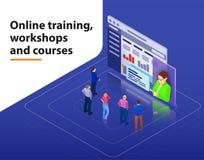 Onlinego szkolenia, warsztatów i kursów unaocznienia płaskiej 3d sieci pojęcia wektoru isometric infographic szablon, Ludzie patr royalty ilustracja