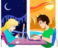 Onlineschwätzchenkommunikation Stockbilder
