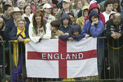 Onlooker displaying English Flag Stock Images