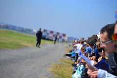 Onlookers Bulgarian Air Force show Royalty Free Stock Images