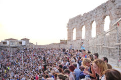 Onlookers on a concert in Arena of Verona Royalty Free Stock Images