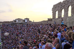 Onlookers on a concert in Arena of Verona Stock Photography