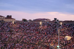 Onlookers on a concert in Arena of Verona Royalty Free Stock Photos