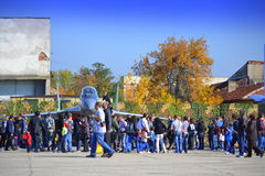 Onlookers Mig 29 fighter static display Stock Image