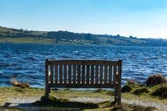 onlooking Siblyback湖的长凳在康沃尔郡,英国 免版税库存照片