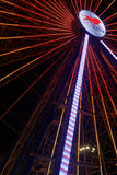OnlyLyon on the big wheel. LYON, FRANCE, December 8, 2015 : With numerous small lights, the festival of lights 2015 pays tribute to the victims of the attacks of stock photo