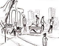 Onmiddellijke schets, mensen in park Royalty-vrije Stock Foto's