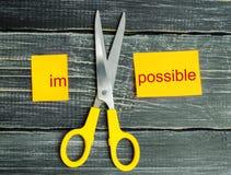 Onmogelijk is het Mogelijke Concept kaart met de onmogelijke tekst, s stock foto