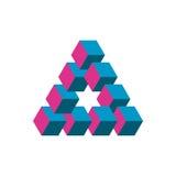 Onmogelijke driehoek in drie verschillende kleuren Kubussen als geometrische optische illusie worden geschikt die Reutersvard tra vector illustratie