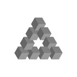 Onmogelijke driehoek in grijs 3D kubussen als geometrische optische illusie worden geschikt die Reutersvard traingle Vector illus vector illustratie