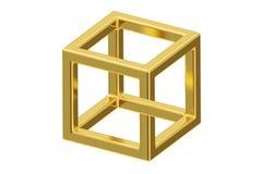 Onmogelijke kubusoptische illusie, het 3D teruggeven royalty-vrije illustratie