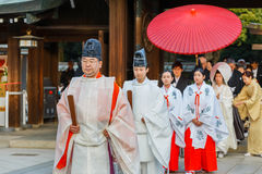 Onmyoji (Japanese Priest) in A Japanese Wedding Ceremony Stock Photo