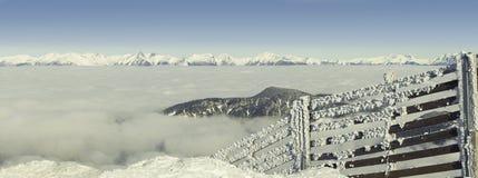 Ono fechtuje się na wierzchołku skłon zakrywający ciężkim śniegiem na pogodnym zima dniu po miecielicy Filtrujący wizerunek: krzy Zdjęcia Stock