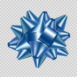 Ono kłania się dla teraźniejszości robić błękitny glansowany faborek Fotografia Royalty Free