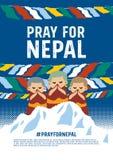 Ono modli się dla Nepal plakata pojęcia royalty ilustracja