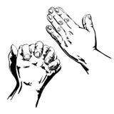 Ono modli się ręki ilustracji