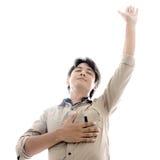 Ono modli się i cześć. Obraz Stock