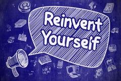 Ono odkrywać na nowo - Doodle ilustracja na Błękitnym Chalkboard Fotografia Royalty Free
