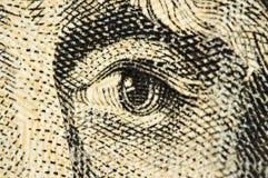 Ono przygląda się na banknocie dolarowy usa, Makro- Obrazy Stock