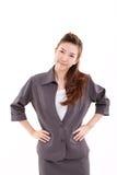 Ono uśmiecha się, szczęśliwa, radosna, rozochocona, pomyślna biznesowa kobieta, Obraz Stock