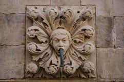 Onofrio ` s喷泉的美好的细节在杜布罗夫尼克,克罗地亚 库存图片