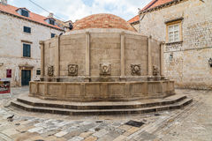 Onofrio's Big Fountain, Dubrovnik Old Town. DUBROVNIK, CROATIA - 11TH AUGUST 2016: A view of Onofrio's Big Fountain at Poljana Paskoja in Dubrovnik Old Town Royalty Free Stock Image