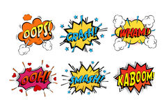 Onomatopoeia comics sounds in clouds for emotions. And kaboom explosion. Steaming oops and wham sound, heart for ooh and stars for smash and crash cartoon book Stock Photography