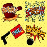 Onomatopoeia set in cartoon style Royalty Free Stock Photos