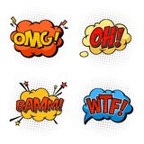 Onomatopoeia sounds omg and wtf, oh and bam. Omg and oh, wtf and bam bubble comic speeches. Onomatopoeia exclamations or sounds effects of question and confusion Royalty Free Stock Photography