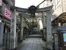 Temple entrance next to Senkouji ropeway station, Onomichi, Hiroshima, Japan. Onomichi, Hiroshima, Japan - 18th December, 2017: Temple entrance next to Senkouji Stock Image