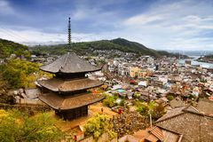 Onomichi. Japan - town in the region of Chugoku. Aerial view with a pagoda. Retro tone color effect - filtered colors style royalty free stock photos