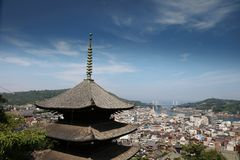 Town in the region of Chugoku. Onomichi, Japan - town in the region of Chugoku. Aerial view with a pagoda stock image