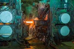 Ononderbroken afgietselmachine bij de metallurgische installatie Stock Afbeelding