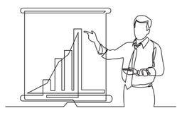 Ononderbroken lijntekening die van bedrijfsbus stijgend marketing diagram op het presentatiescherm tonen stock illustratie