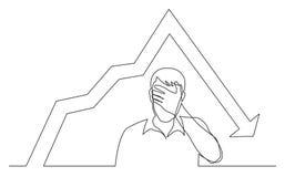 Ononderbroken lijntekening die van de mens zijn gezicht in wanhoop wegens het verminderen grafiek verbergen stock illustratie