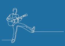 Ononderbroken lijntekening van gelukkige mens het spelen gitaar stock illustratie