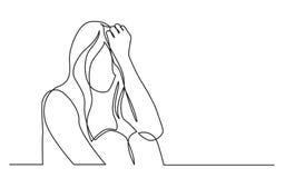 Ononderbroken lijntekening van gewijde vrouw in wanhoop stock illustratie